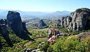 View of the rocky Meteora formation in central Greece.