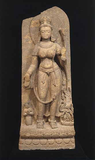 Tara (Buddhism) - Green Tara, 8th century. This very early image shows her in a persona known as Syamatara, or Green Tara, who is said to protect her followers from danger. Brooklyn Museum