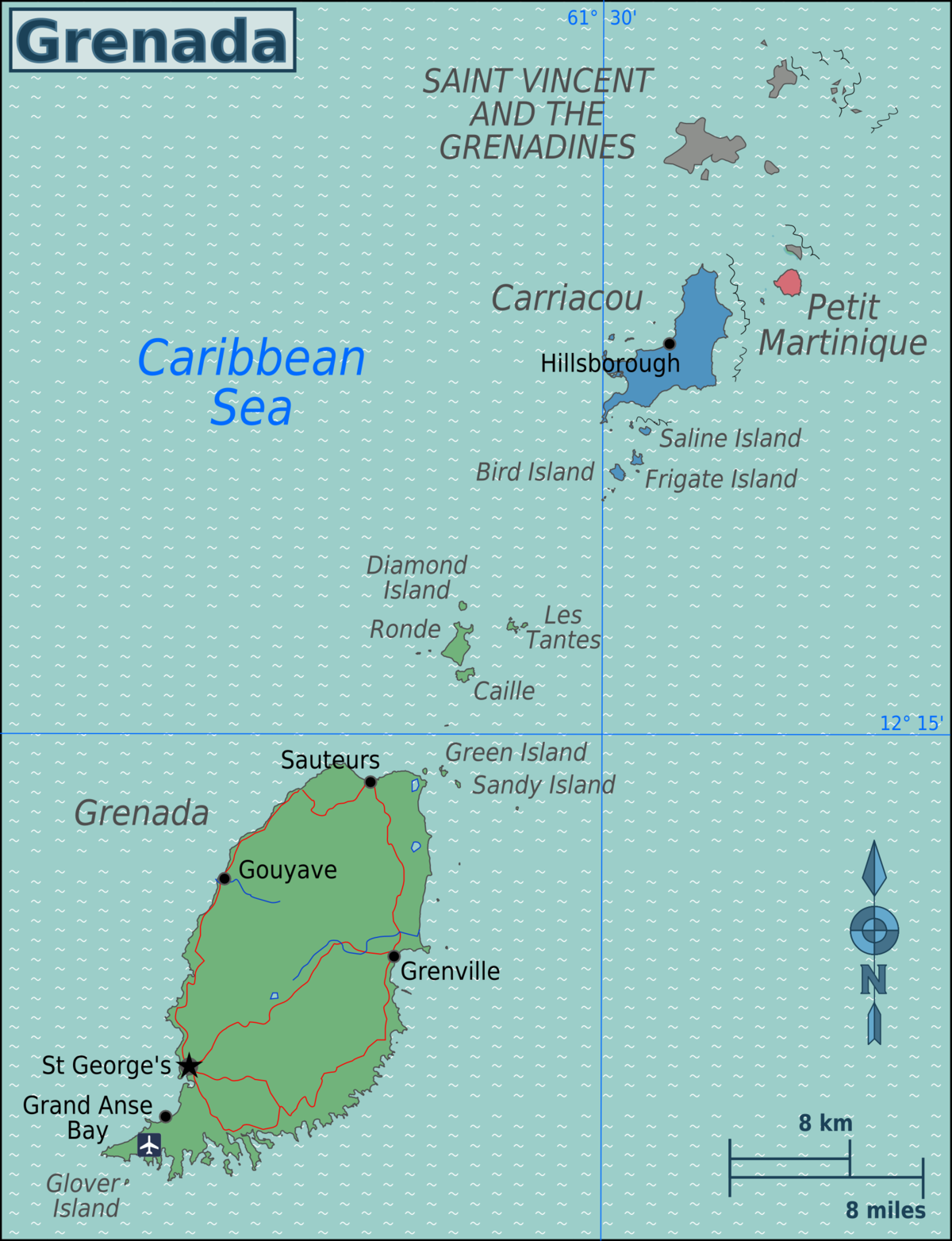 Geography Of Grenada Wikipedia - Map of grenada world