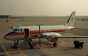 Grumman Gulfstream I - Gulfstream I of Cimber Air operating a scheduled service from Copenhagen Airport in 1981