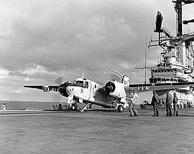 Grumman S-2E Tracker of VS-41 is ready for launching from aircraft carrier USS Bennington (CVS-20), 30 November 1967 (NH 97584).jpg