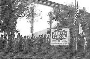 Good Shepherd Lutheran School - Midweek Chapel Day flag-raising, Parish Hall, 1969