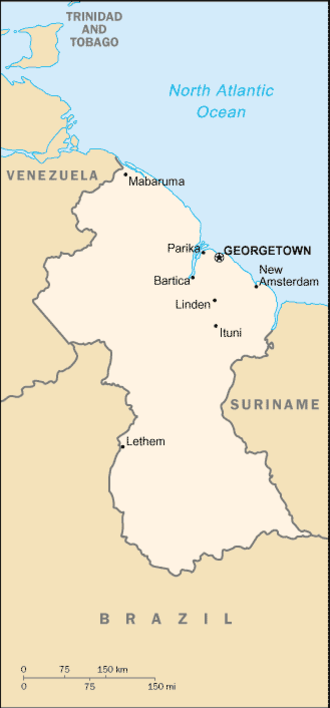 Geography of Guyana - Map of Guyana