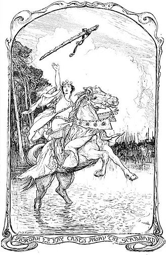 Excalibur - Morgan le Fay Casts Away the Scabbard, by Henry Justice Ford (1902)