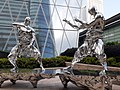 HK 中環 Central 交易廣場 Exchange Square sculpture fighting silver men January 2020 SS2 02.jpg