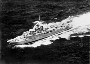 HMAS Queenborough in 1954 after conversion to an anti-submarine frigate