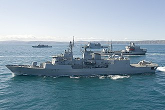 New Zealand Defence Force - HMNZS Te Kaha in Cook Strait along with other RNZN ships