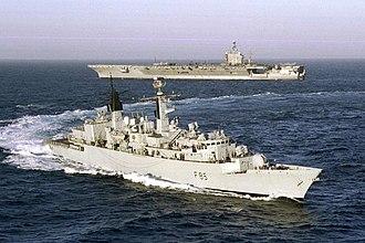 HMS Cumberland (F85) - Image: HMS Cumberland and CVN 69
