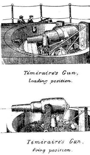 HMS Temeraire (1876) - Image: HMS Temeraire Disappearing Gun Diagram Brasseys 1888