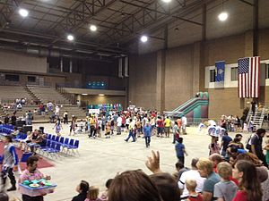 Hale Arena - Interior of Hale Arena from East bleachers facing northwest toward exit.