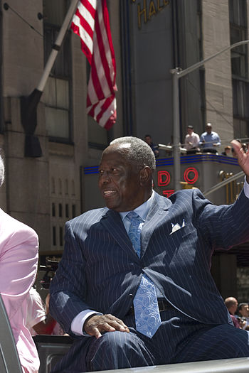 Hall of Fame baseball player Hank Aaron at the...