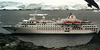 Hamburg Atlantic Line - MS Hanseatic in Paradise Bay, Antarctica, February 2001, still sporting Hanseatic Tours livery