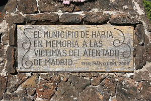 2004 Madrid train bombings - Memorial plaque to the victims in Haría, Lanzarote.