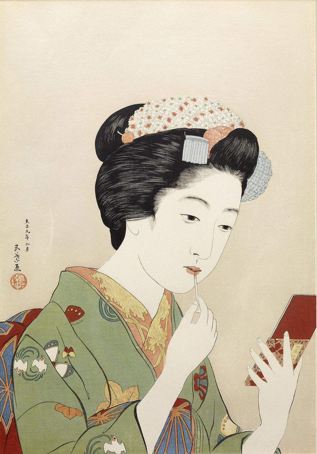 Hashiguchi Goyo - Woman Applying Color to Her Lips - Walters 95879