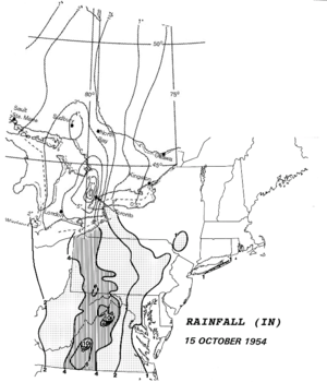 Accumulations of rain with Hurricane hazel.