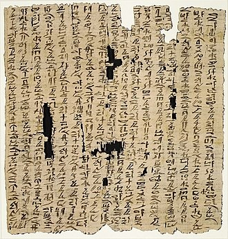 Heqanakht papyri - Heqanakht papyrus (MM 22.3.516) on display in the Metropolitan Museum of Art in New York.