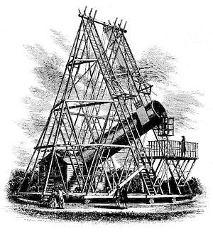 Herschel's 40-foot telescope, 1789. Deutsch: W...