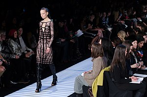 Hervé Leger - A model walking the runway at Herve Leger Fall/Winter 2014 show at New York Fashion Week, February 2014.