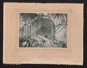 Het puin van de Beurs van Antwerpen, langs de kant van de bank, onder de gaanderij