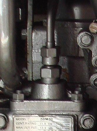 Fuel pump - A high-pressure fuel pump on a Yanmar 2GM20 marine diesel engine.