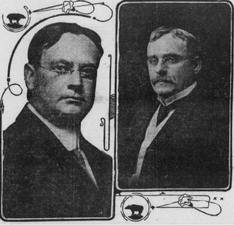 Hiram Johnson - Johnson and newly elected Lieutenant Governor A.J. Wallace, right, in the Los Angeles Herald, November 9, 1910