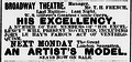 His Excellency An Artists Model Broadway Theatre NY Sun Dec 21 1895.png