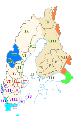 Historical provinces of Sweden (incl. Finland)