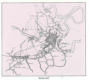 Ho Chi Minh City - Location of the hexagonal Gia Dinh Citadel (r) and Cholon area (tilted square, left) in 1815. Today this forms the area of Ho Chi Minh City.