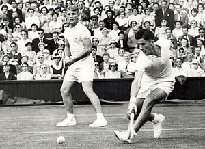 Ken Rosewall - Rosewall (right) and Hoad playing doubles at the Wimbledon Championships in the mid-fifties