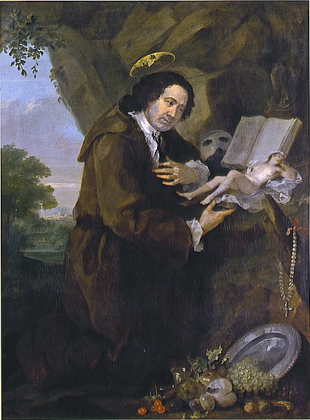 Portrait of Francis Dashwood, 11th Baron le Despencer by William Hogarth from the late 1750s, parodying Renaissance images of Francis of Assisi. The Bible has been replaced by a copy of the erotic novel Elegantiae Latini sermonis, and the profile of Dashwood's friend Lord Sandwich peers from the halo. Hogarth Dashwood.jpg