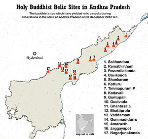 Visakhapatnam district - Buddhist Holy relic sites map of Andhra Pradesh includes Pavurallakonda, Bavikonda, Bojjannakonda and Kotturu Dhanadibbalu from Visakhapatnam district
