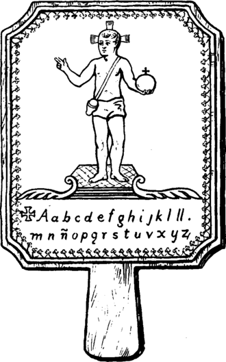 An early Mexican hornbook pictured in Tuer's History of the Horn-Book, 1896. Hornbook Mexican.png