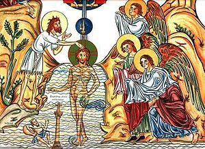 The baptism of Jesus by John the baptist, as i...
