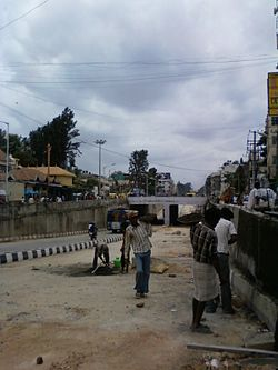 Underpass at Madiwala at the junction of Hosur Road and Inner Ring Road, Bangalore.