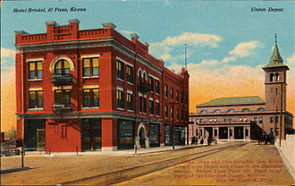 El Paso–Juárez - Hotel Bristol and the Union Depot at El Paso, Texas (postcard, circa 1912)