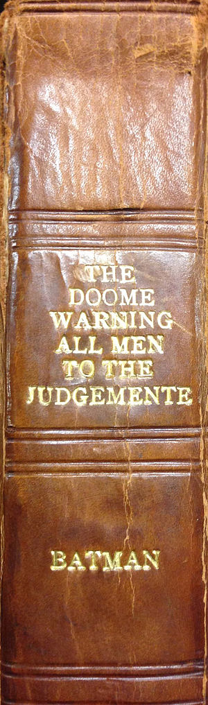 Stephen Batman - Spine from The Doome warning all men to the Judgemente, 1581