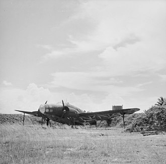 Japanese invasion of Malaya - A decoy Lockheed Hudson at Kota Bharu Airfield, c. 1941.