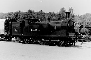 LSWR M7 class - No. 30053 (numbered as No. 53) at Steamtown USA in Bellows Falls, Vermont in August 1970.