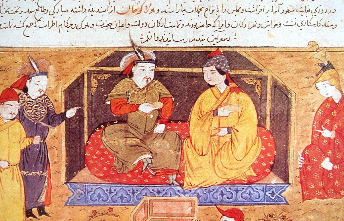 Rachid Ad-Din, Hulagu en compagnie de la reine chrétienne Dokuz Kathun, in Histoire du Monde, Wikimedia Commons