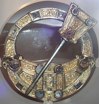 Art in Medieval Scotland - The front of the Hunterston Brooch, found near Hunterston, North Ayrshire, which shows Irish elements of style and may have been made in the kingdom of Dál Riata