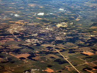 Huntington, Indiana - Aerial view of Huntington looking northeast.