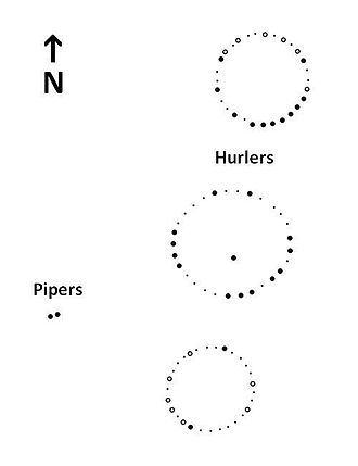 The Hurlers (stone circles) - Map of the stone circles