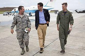 Tom Bossert - Bossert with Gen. Joseph Lengyel (left) and Rear Adm. Jeff Hughes (right) in 2017