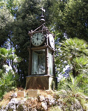Pontifical University of Saint Thomas Aquinas - G. B. Embriaco's hydrochronometer in the Villa Borghese gardens, patterned after his original of 1867 in the courtyard of the College of Saint Thomas