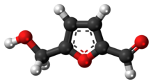 Ball-and-stick model of the hydroxymethylfurfural molecule