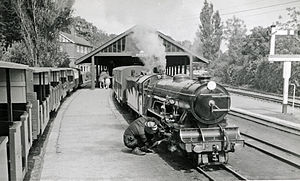 Romney, Hythe and Dymchurch Railway - Hythe station with train in 1962