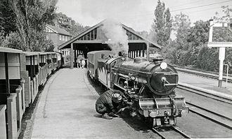 Romney, Hythe and Dymchurch Railway - Hythe station with train in 1962