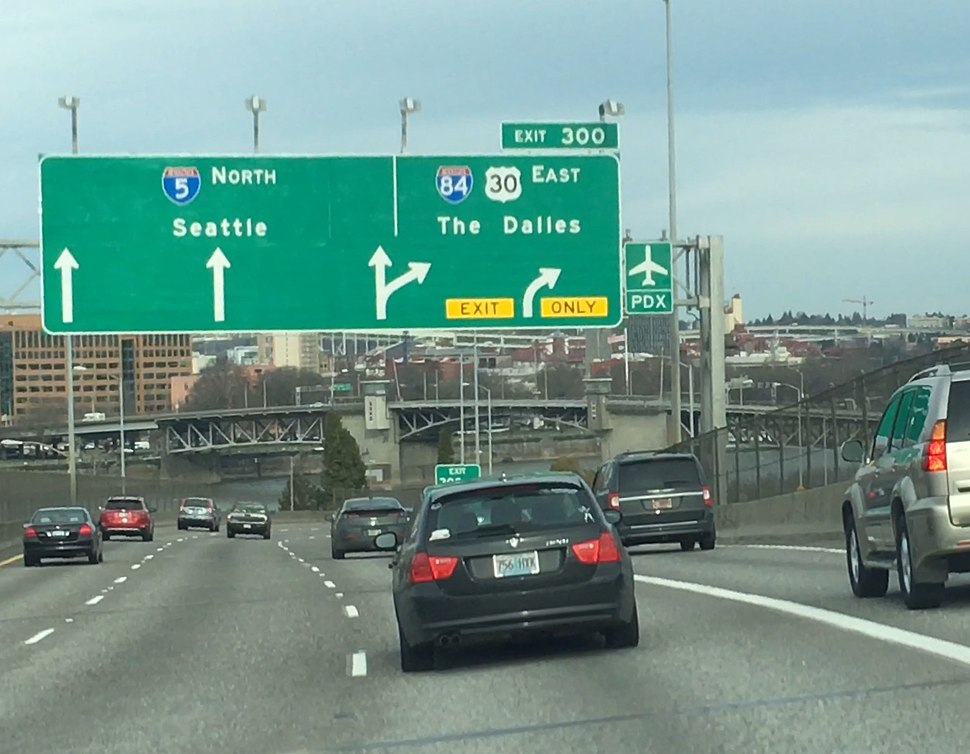 I-5 Northbound junction with I-84 Eastbound