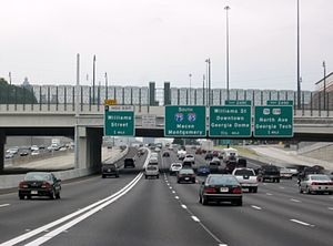 Interstate 75 - Interstate 75 co-signed with Interstate 85 in downtown Atlanta.