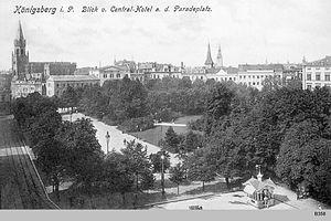 Paradeplatz (Königsberg) - View southwest from the Central Hotel toward New Altstadt Church